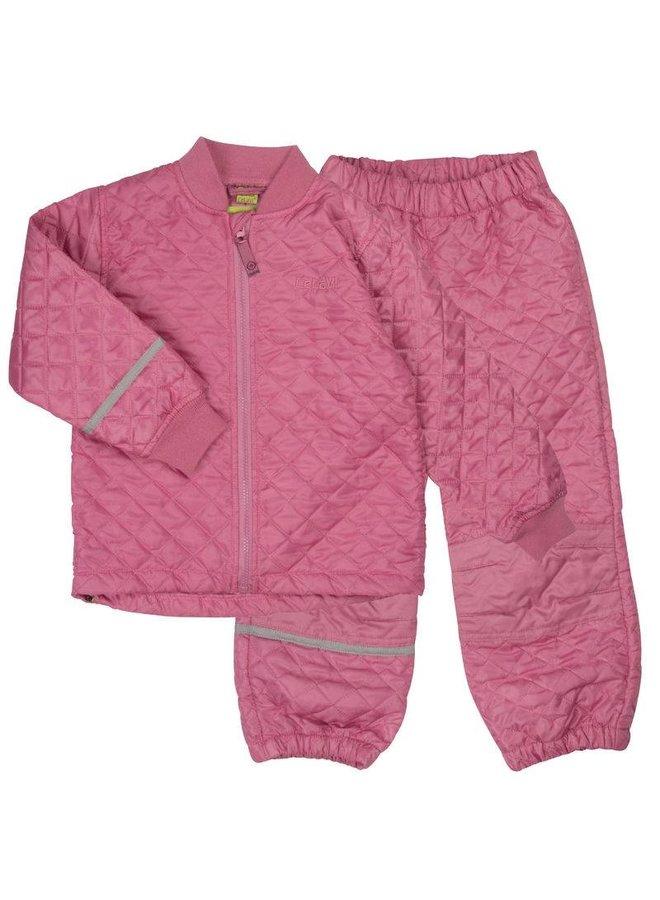 Thermo set broek en jack gewatteerd roze | 80-128