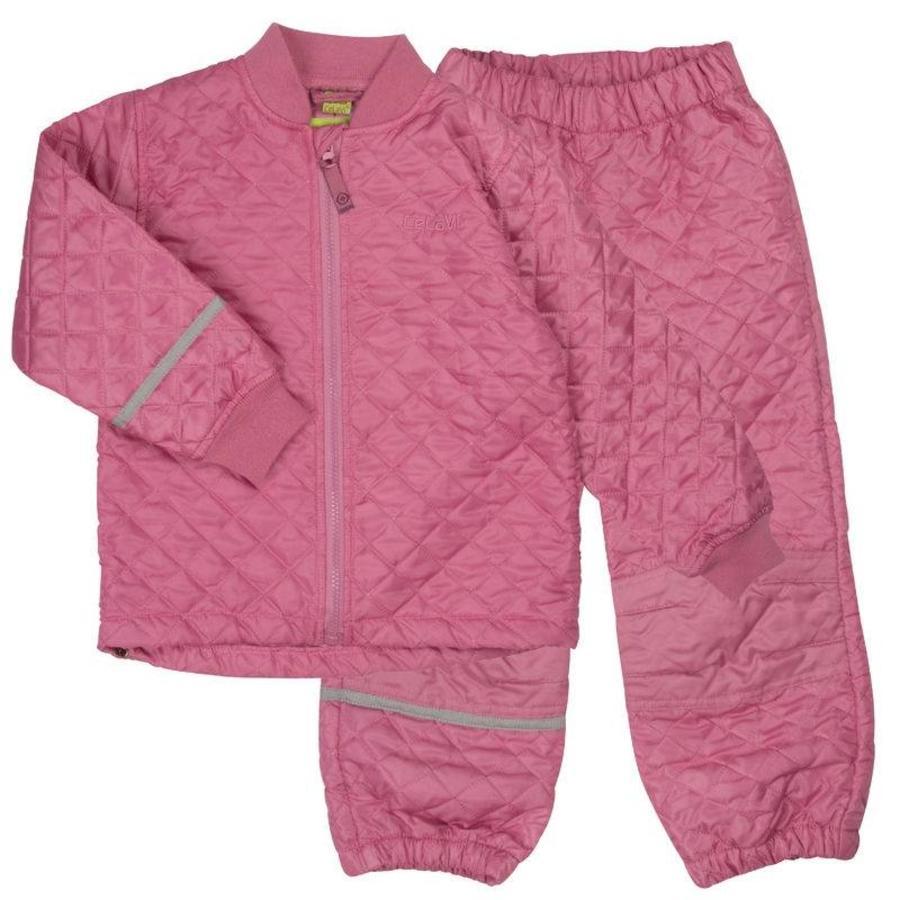 Thermo set broek en jack gewatteerd oud roze | 80-128-3