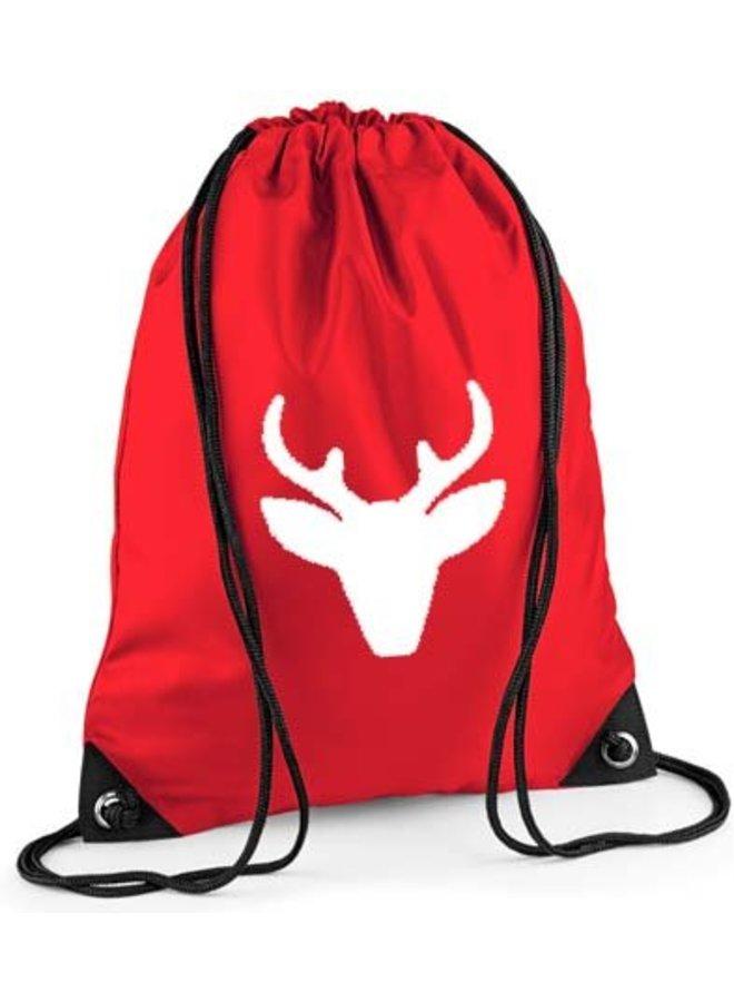 Red backpack, gym bag with reindeer