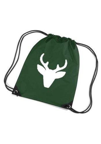 Dark green backpack, gym bag with reindeer