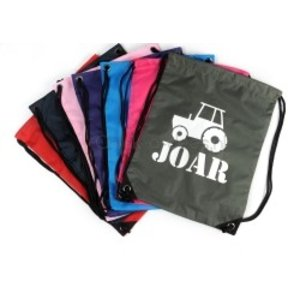 Gym bag, backpack with drawstring with name and tractor