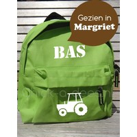 thumb-Backpack with name print and tractor, farm theme-2