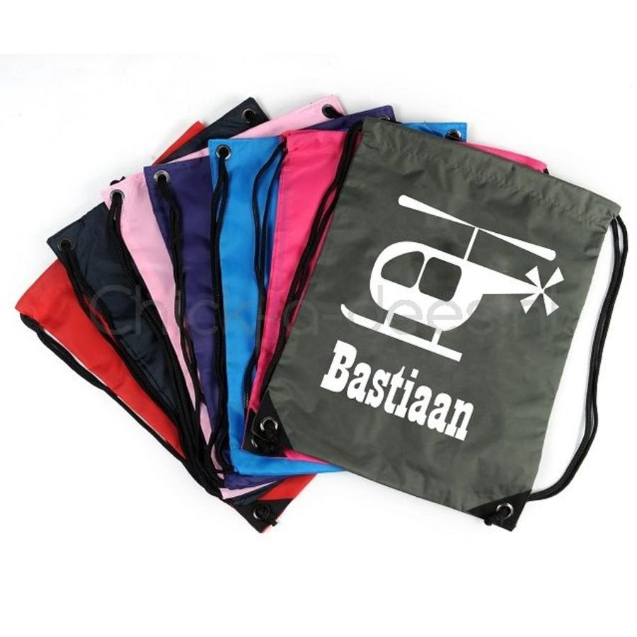 Gym bag with name and helicopter-1
