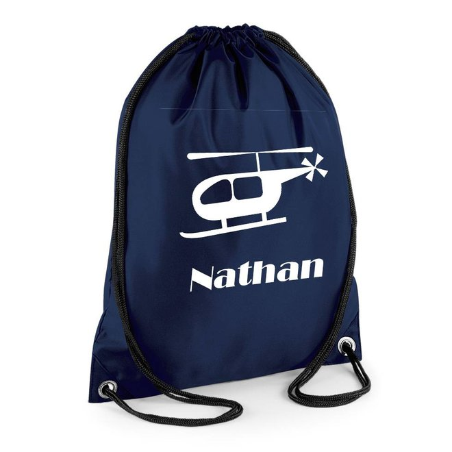 Gym bag with name and helicopter