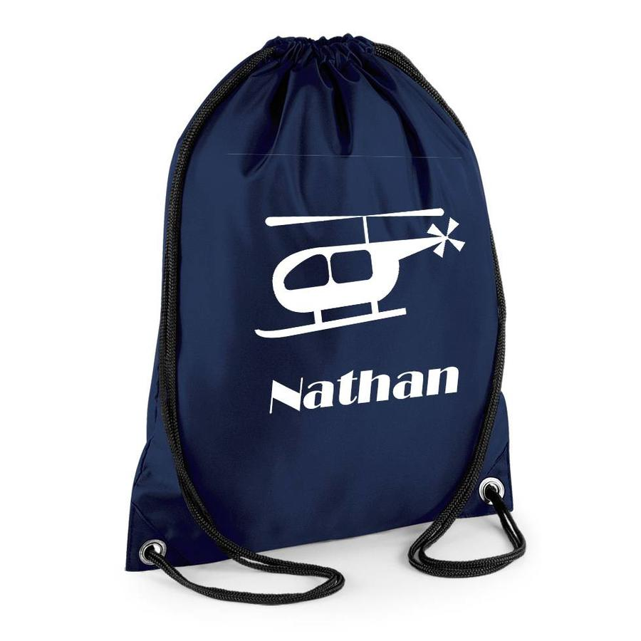 Gym bag with name and helicopter-2