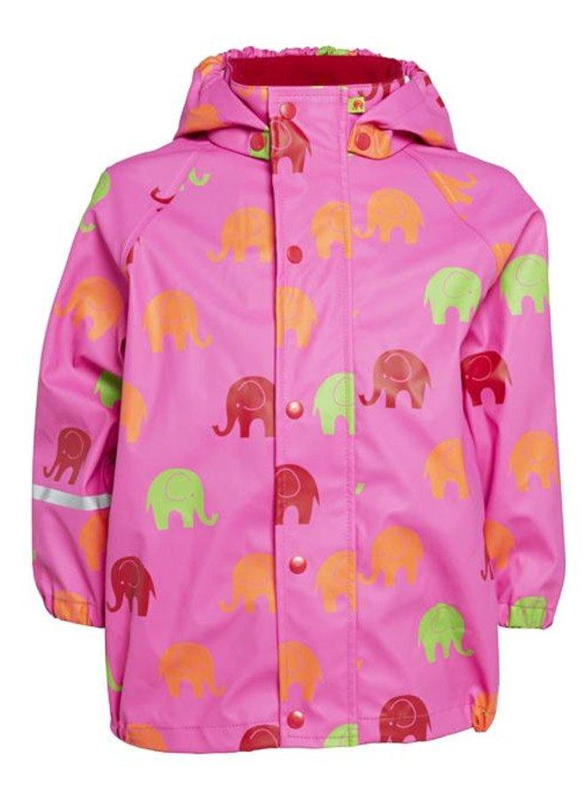 Waterdicht regenpak in roze met olifanten maat 140