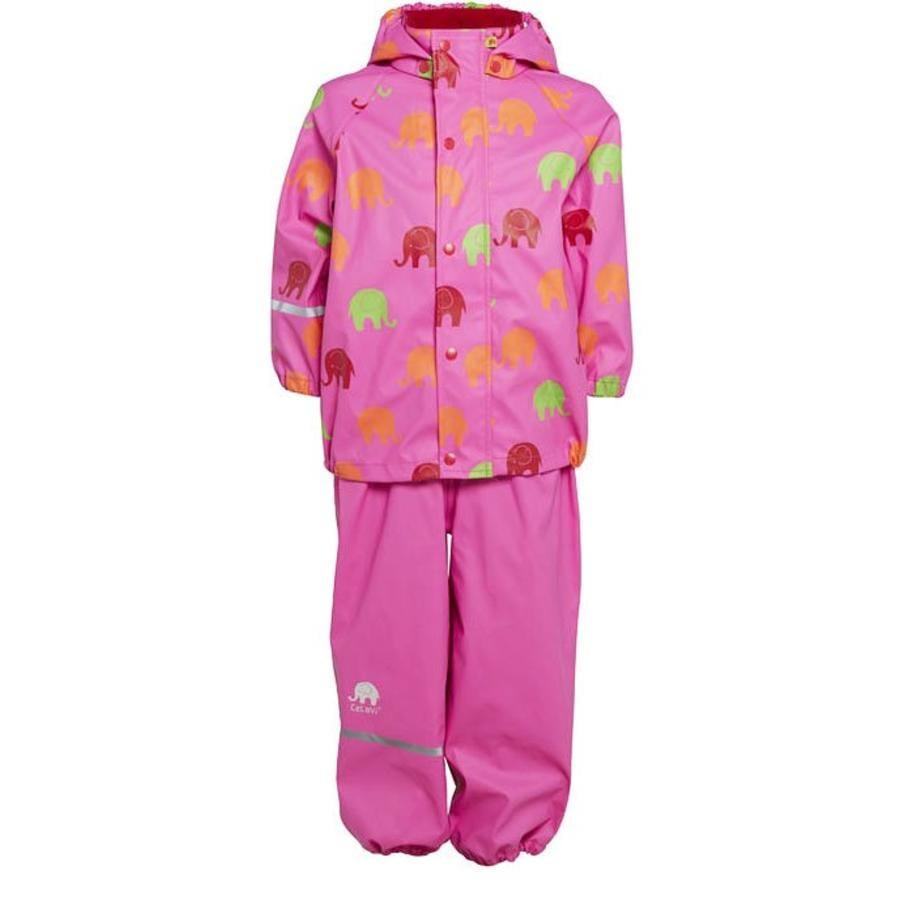 Waterproof rainsuit wit raincoat and rainpants in pink with elephants print-1