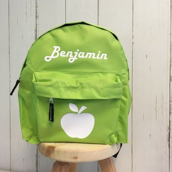 Backpack with name print and apple