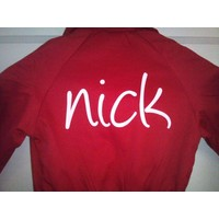 thumb-Red overalls with name or text printing-5