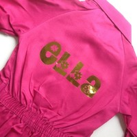 thumb-Pink fuchsia overall with name or text printing-1