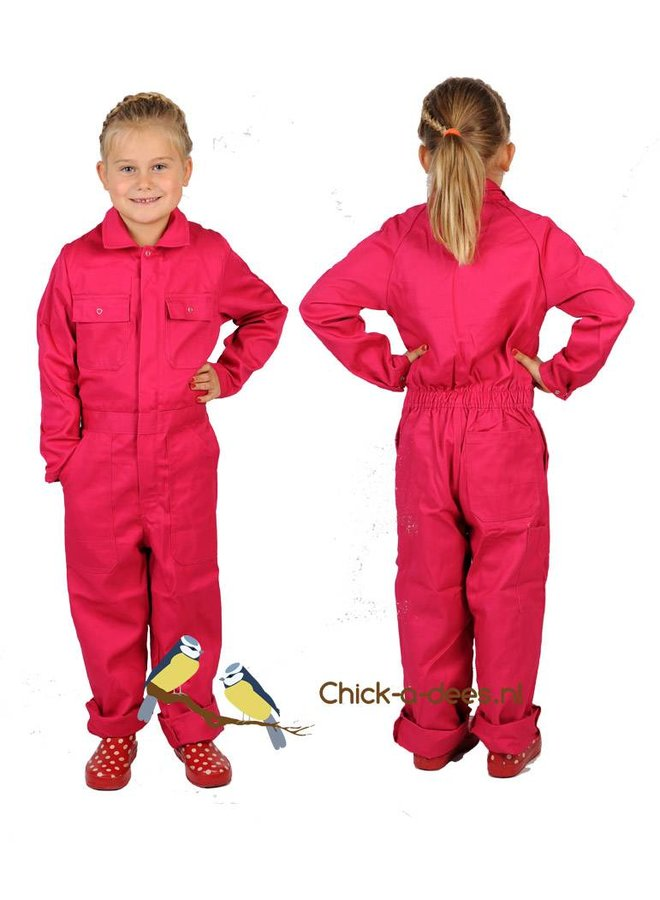Fuchsia pink coverall with name or text print