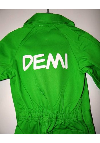 Printed lime green pink overalls with text or name