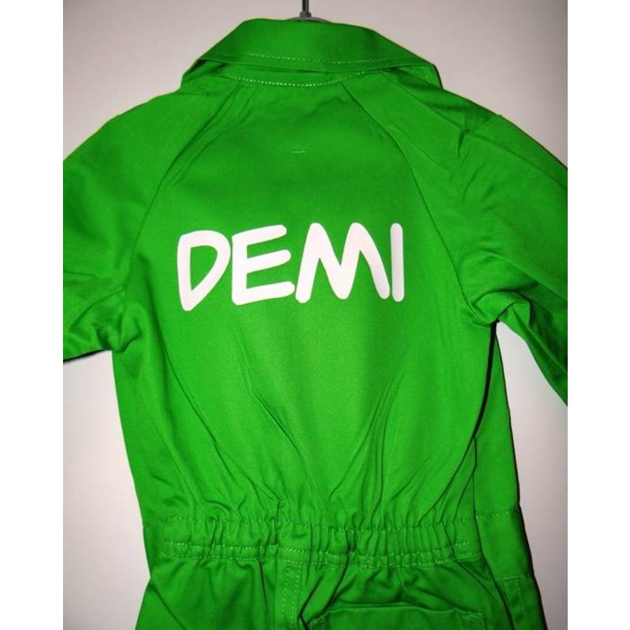 lime overall with name or text printing-2
