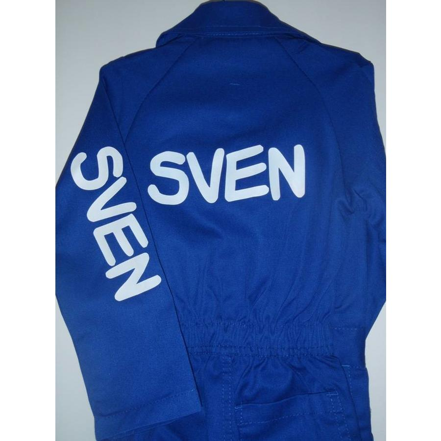 Blue overall with name or text printing-2