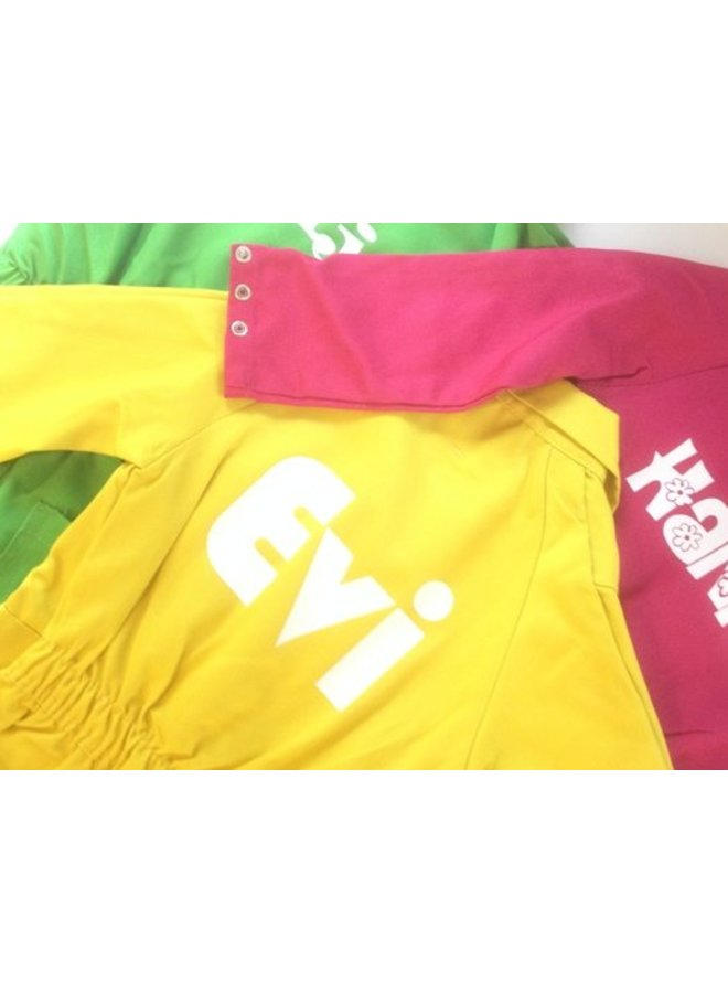 Yellow coverall with name or text print