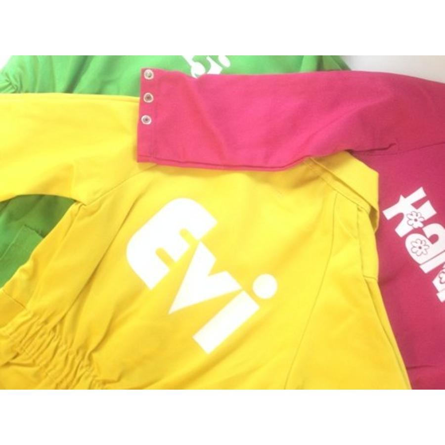 Gele overall met naam of tekst bedrukking-5