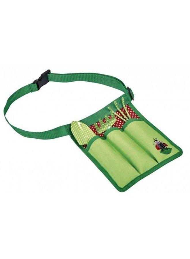 Set of children's garden tools in waist bag