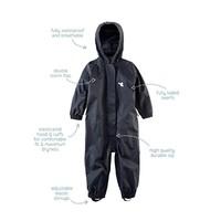 thumb-Waterproof coveralls, rain boiler suit - black-1