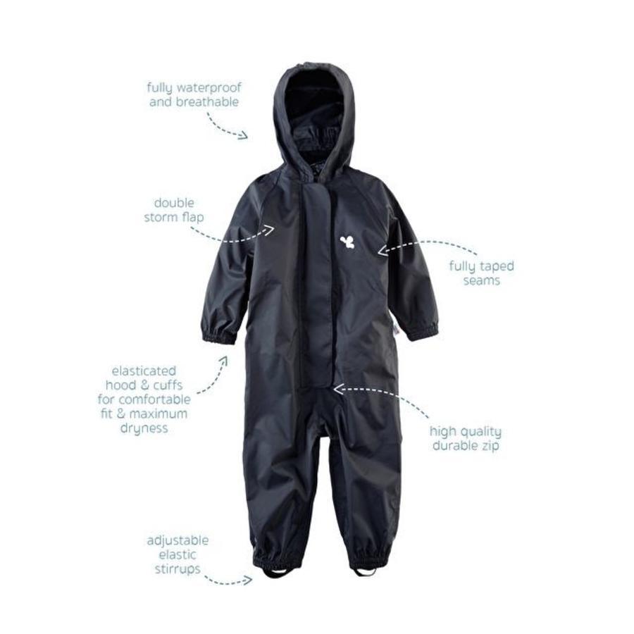 Waterproof coveralls, rain boiler suit - black-1