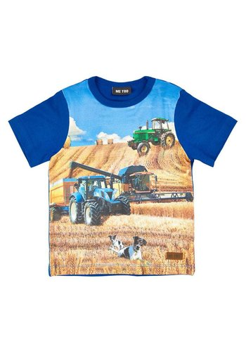 ME TOO T-shirt met tractor in blauw
