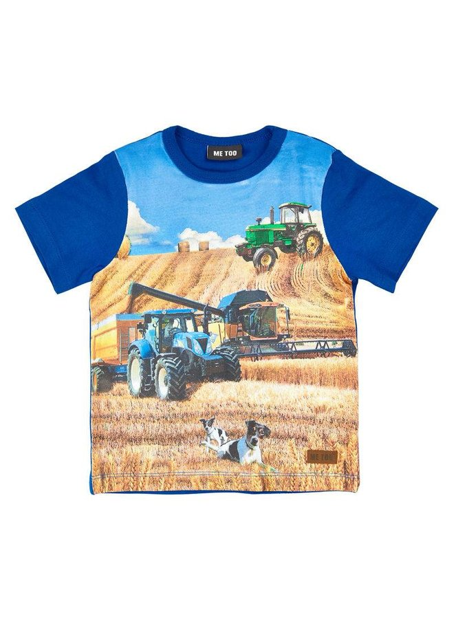 blue shit sleeved T-shirt with tractor