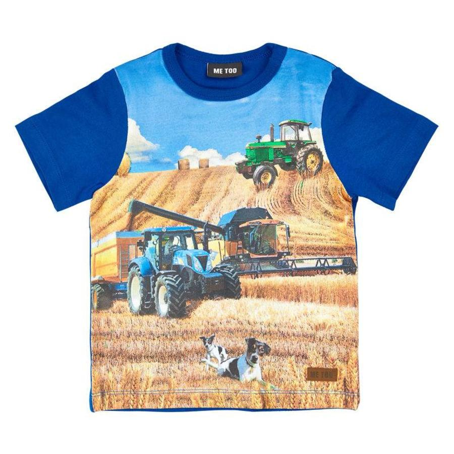 blue shit sleeved T-shirt with tractor-1