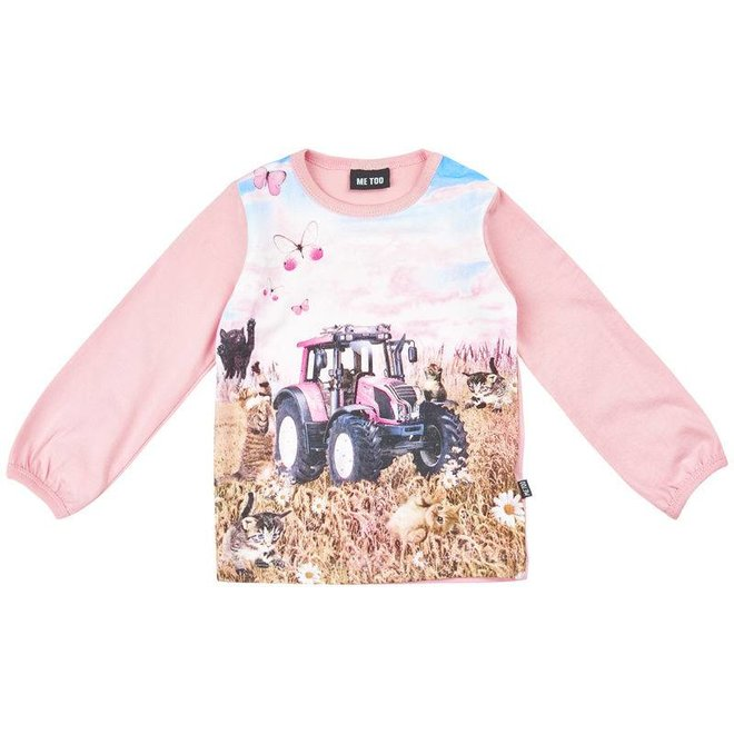 T-shirt with tractor in pink- long sleeves
