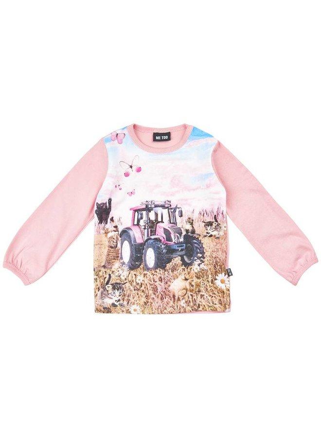 T-shirt met tractor in roze- lange mouwen
