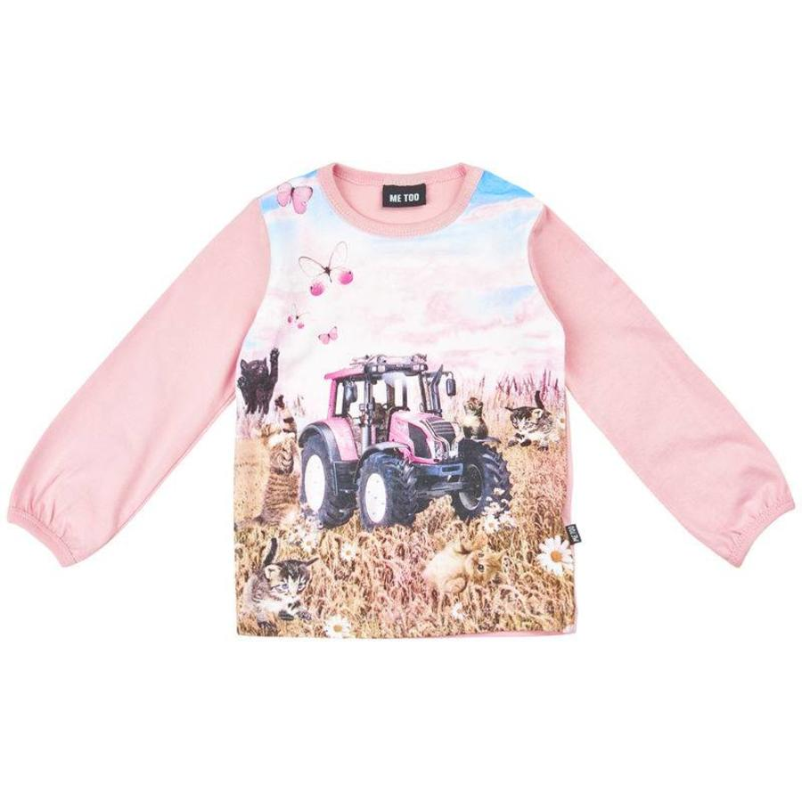 T-shirt with tractor in pink- long sleeves-1