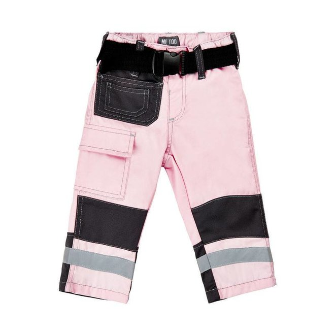 Roze kinder werkbroek met zakken en kniestukken