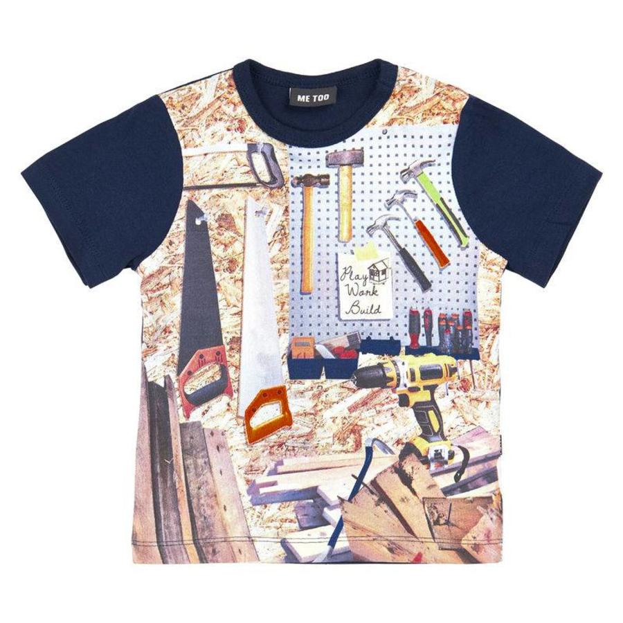 blue shit sleeved T-shirt with tools-1