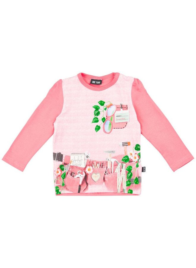 Pink long sleeved shirt with tools