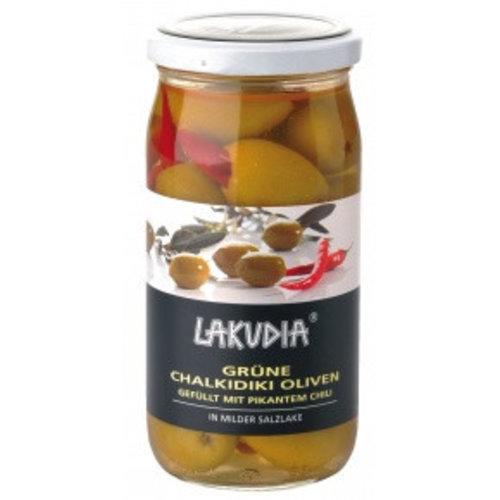 Lakudia (Essingen) Chalkidiki Oliven mit Chili (370g)