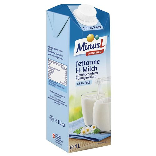 MinusL Fettarme H-Milch l-frei 1,5% (1l)