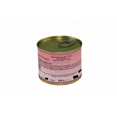 Metzgerei Vetter (Wasseralfingen) Kalbsfleischleberwurst (200g/Dose)