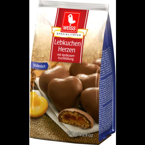 Weiss Lebkuchen Herzen + Aprikosenfüllung VM (150g)