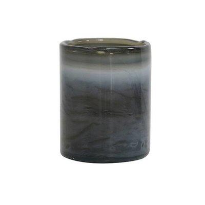 HK Living Glazen waxinelicht houder grijs
