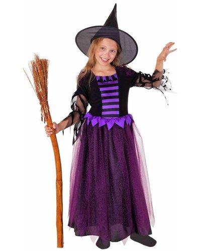 Magicoo Deluxe Heksenjurk lila-zwart met hoed