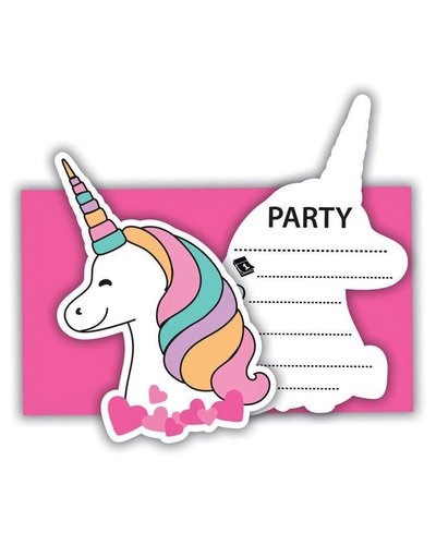 Magicoo 6 unicorn party uitnodigingen