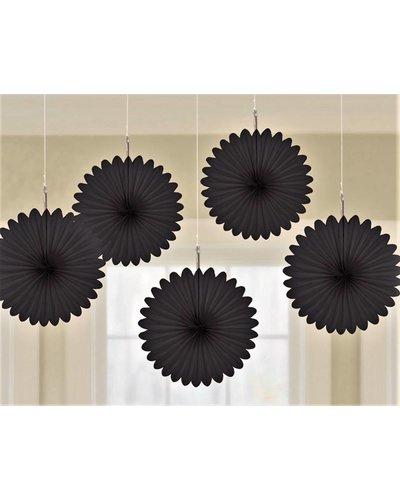 Magicoo 5 zwarte papieren waaiers - 15,2 cm