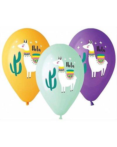 "Magicoo 5 ballonnen ""Lama"" in  pastelkleuren"