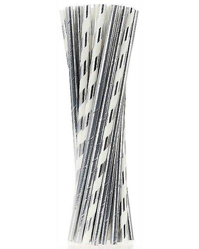 Magicoo 24 rietjes zilver-wit papier