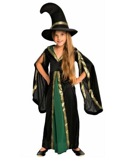 Magicoo Groen zwarte toverheks- heksenkostuum voor meisjes