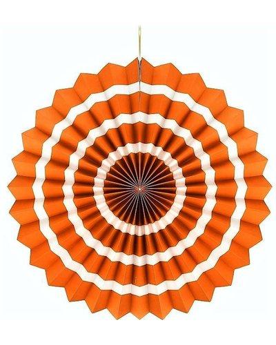 Magicoo Papierwaaier oranje-wit - 40 cm