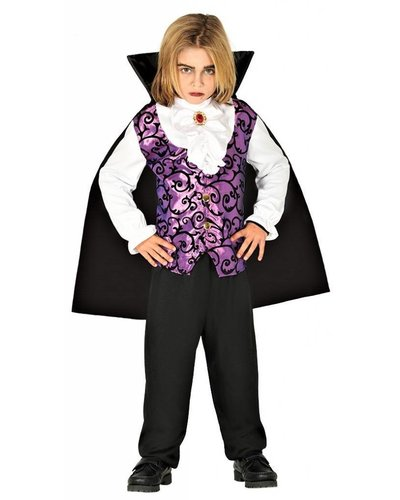 Magicoo Vampierpak kinderen lila-zwart-wit