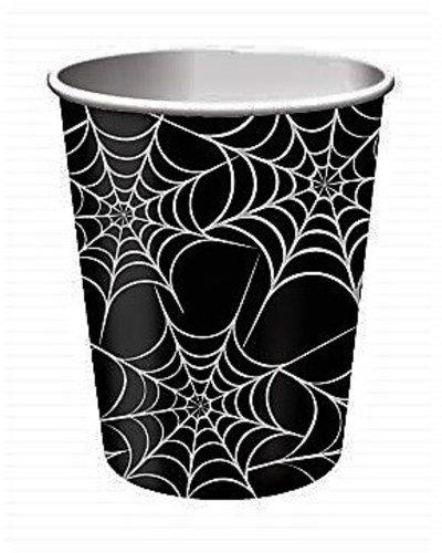 Magicoo halloween papieren bekers zwart met spinnenwebmotief