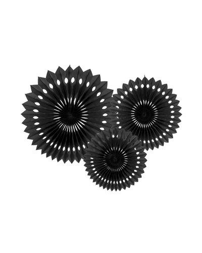 Magicoo 3 papieren decoraties in 3 maten zwart