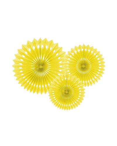 Magicoo 3 papieren decoraties in 3 maten geel