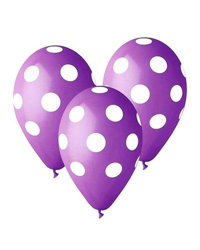 Magicoo 5 ballonnen paars met witte stippen