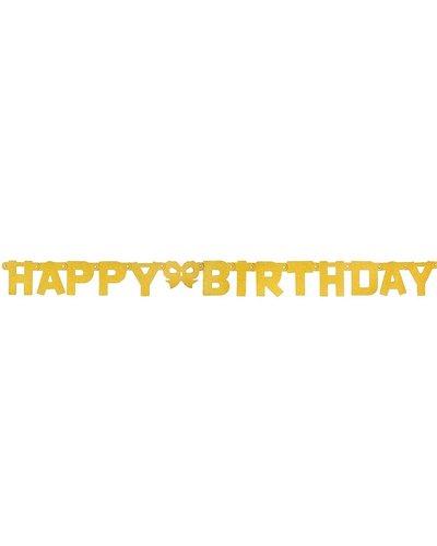 """Magicoo Gouden papieren slinger met glitters - """"Happy Birthday"""""""